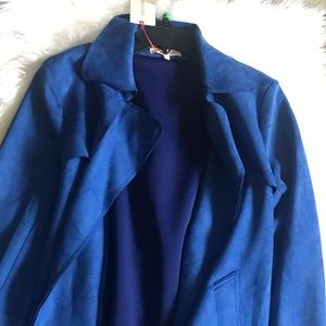 NWT Royal Blue Cobalt Faux Suede Trench Wrap Coat